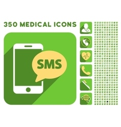 Phone sms icon and medical longshadow icon set vector