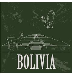 Bolivia landmarks Retro styled image vector image