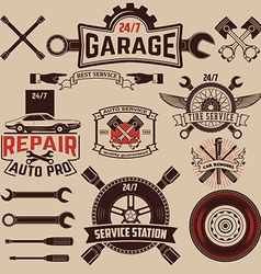 Set of car service labels vector image
