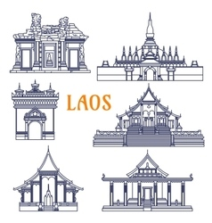 Laotian temples thin line icon for travel design vector