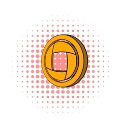 Yellow camera aperture icon comics style vector image