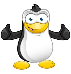 Penguin mascot thumbs up vector