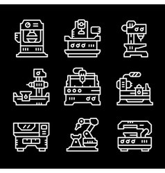 Set line icons of machine tool vector