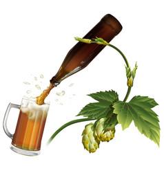 beer mug hop bottle vector image vector image