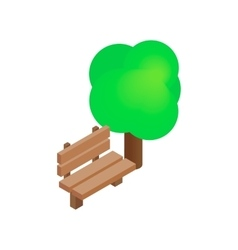 Bench and tree isometric 3d icon vector