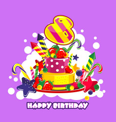 birthday cake number vector image vector image
