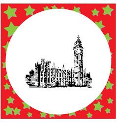 Black 8-bit big ben clock tower and parliament vector