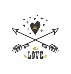 Black and golden hand drawn heart and arrows vector