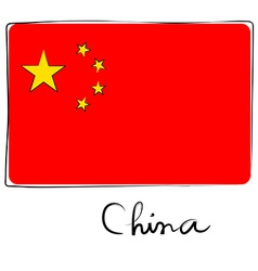 China flag doodle vector image vector image