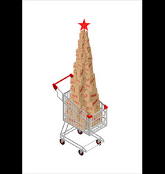 christmas sale box in supermarket card fir-tree vector image