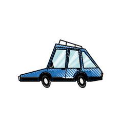 Drawing blue car transport concept design vector