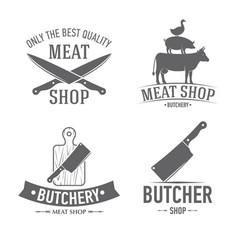 Emblems set butchery vector