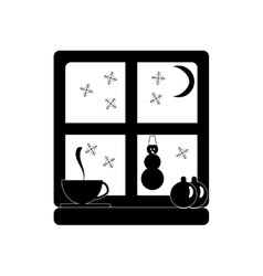 Flat icon in black and white style window snow vector