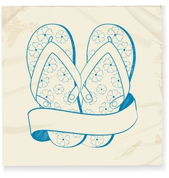 flip flop and banner doodle vector image