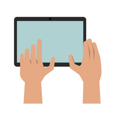 hands with tablet icon image vector image