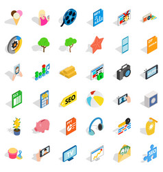 Help for seo icons set isometric style vector