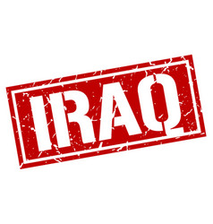 Iraq red square stamp vector