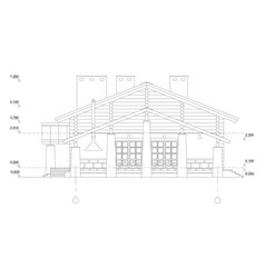 Isolatedfragment of a facade of the wooden vector