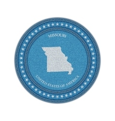 Label with map of missouri denim style vector