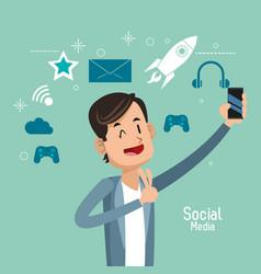Man up hand cellphone social media vector