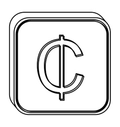 monochrome square contour with currency symbol of vector image vector image