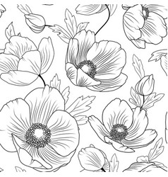 poppy flowers seamless pattern texture black white vector image vector image