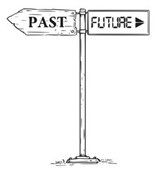 Road decision past or future arrow sign drawing vector