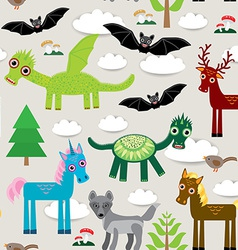 Seamless pattern with funny dragons bats unicorn vector