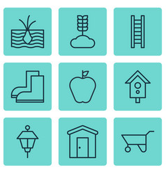 Set of 9 agriculture icons includes birdhouse vector