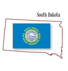 South dakota state map and flag vector