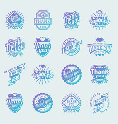 thank you text lettering logo badge vector image