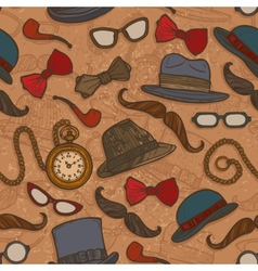 Vintage hats and glasses color seamless pattern vector image vector image