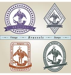 Vintage stamp Brussels vector image