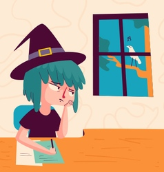 vs 11 halloween girl depression2Bored Witch Lookin vector image