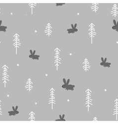 Winter Forest with a Rabbit vector image