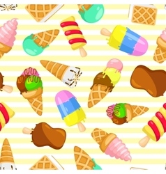 Colorful pastel pattern of ice cream on a striped vector