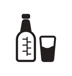 Flat icon in black and white glass bottle vector