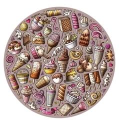 Set of ice cream cartoon doodles objects vector