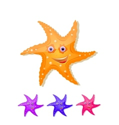 Starfish with eyes and smile icon set vector