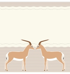 Card with two gazelles vector