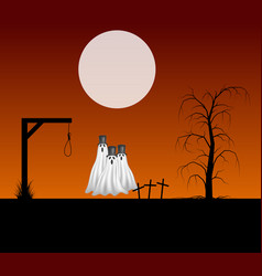 Three ghosts with hats standing in the cemetery vector