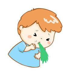 Ill boy vomiting cartoon vector