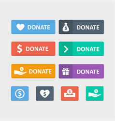 Donate button set vector