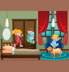 Bedroom scene with kid at slumber party vector