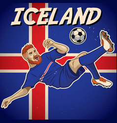 Iceland soccer player with flag background vector