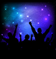 audience on galaxy night sky background vector image
