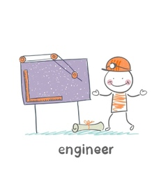 Engineer sketched on a blackboard vector