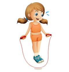 A young lady exercising with a rope vector