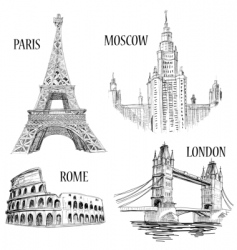 European cities symbols sketch vector