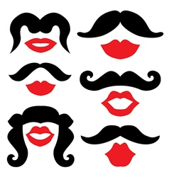 Mustache and lips vector image